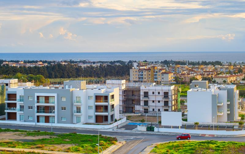 modern apartments building Paphos Syprus stock photos