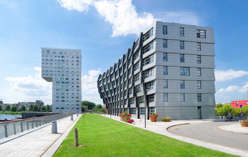 Modern apartments. Exterior of modern apartments in almere, netherlands. Almere is the youngest city in the netherlands and lies completely below sea level (2 to royalty free stock photography