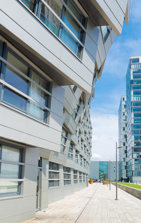 Modern apartments. Exterior of a modern apartment in almere, netherlands. Almere is the youngest city in the netherlands and lies completely below sea level (2 stock image