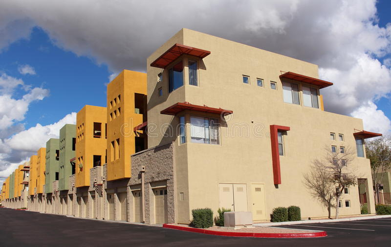 Modern Apartments. Exterior of modern trendy new colorful apartments royalty free stock images