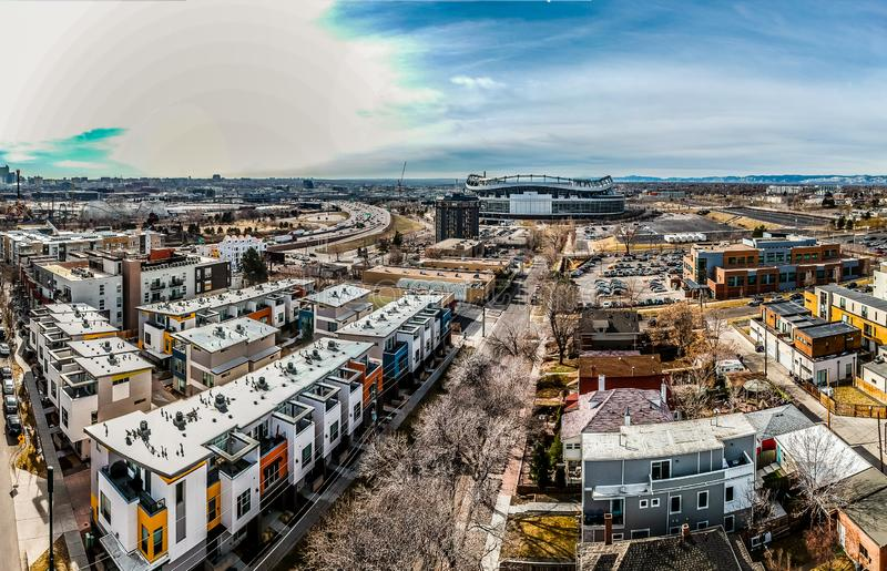 Modern Apartments And Mile High Stadium In Denver  stock photography