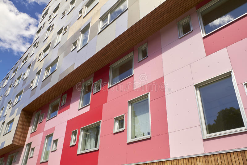 Modern appartement building. With pink, red and blue details royalty free stock images