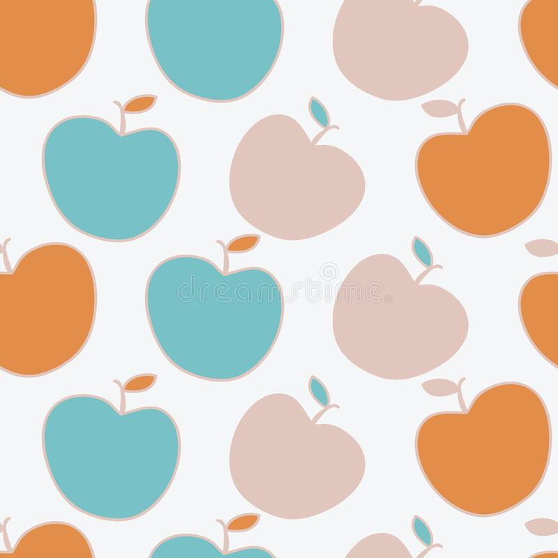 Modern apples in updated fall colors, vector repeat pattern. Surface pattern, turquoise, blush, orange royalty free illustration