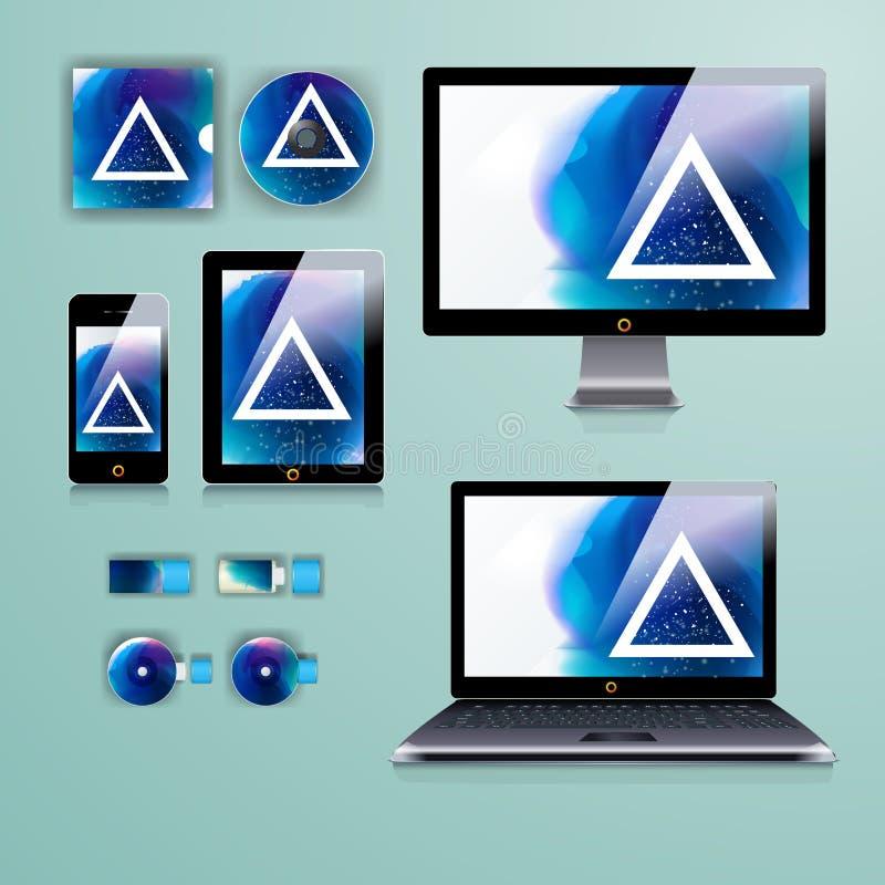Modern applikationmalldesign för företags identitet Datorminnestavla- och telefonuppsättning royaltyfri fotografi