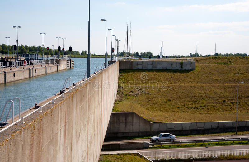 Download Modern aqueduct stock photo. Image of sluice, flevoland - 26934638