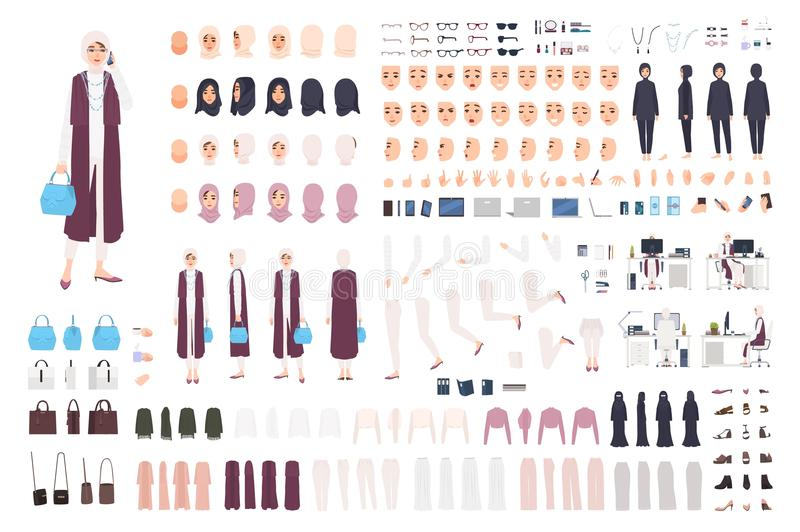 Modern Arab business woman constructor or creation kit. Bundle of female office worker body parts, facial expressions royalty free illustration