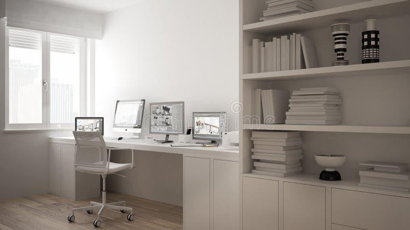 Modern arbetsplats i det minimalist huset, skrivbord med datorer, stor bokhylla, hemtrevlig vit arkitekturinre vektor illustrationer