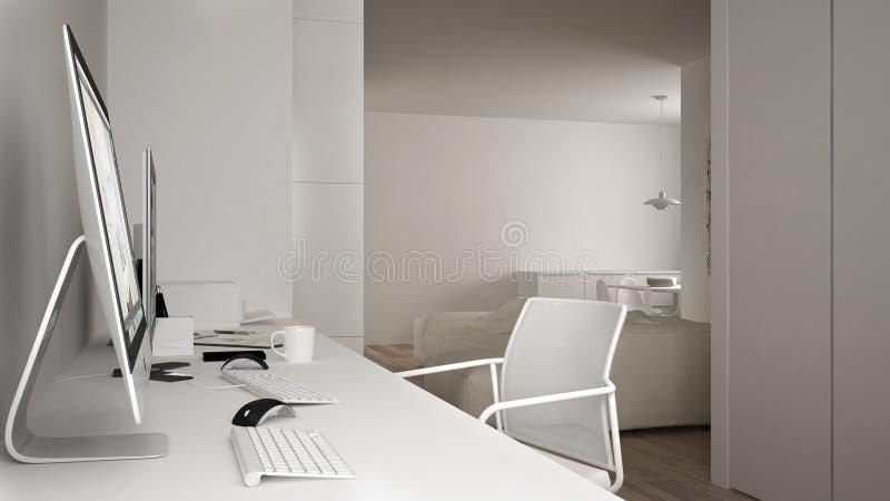 Modern arbetsplats i minimalist hus, skrivbord med datorer, nyckelord och mus, hemtrevlig vit arkitekturinre royaltyfri illustrationer