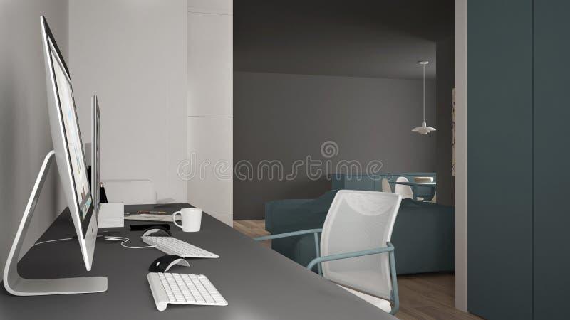 Modern arbetsplats i minimalist hus, skrivbord med datorer, nyckelord och mus, hemtrevlig vit och blåttarkitekturinre stock illustrationer
