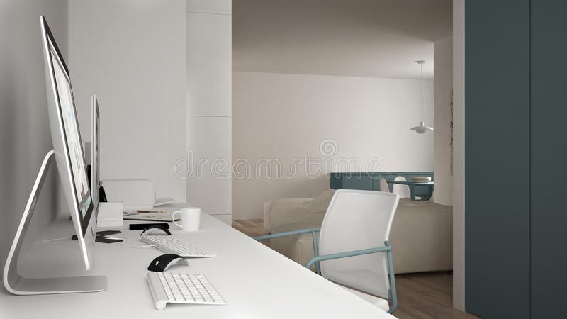 Modern arbetsplats i minimalist hus, skrivbord med datorer, nyckelord och mus, hemtrevlig vit och blåttarkitekturinre vektor illustrationer