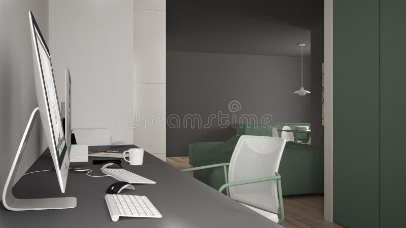 Modern arbetsplats i minimalist hus, skrivbord med datorer, nyckelord och mus, hemtrevlig vit och gräsplanarkitekturinre vektor illustrationer