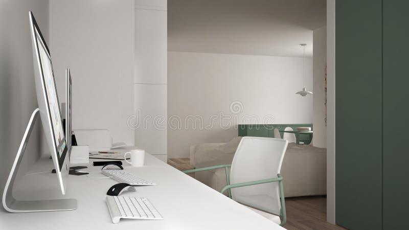 Modern arbetsplats i minimalist hus, skrivbord med datorer, nyckelord och mus, hemtrevlig vit och gräsplanarkitekturinre royaltyfri illustrationer