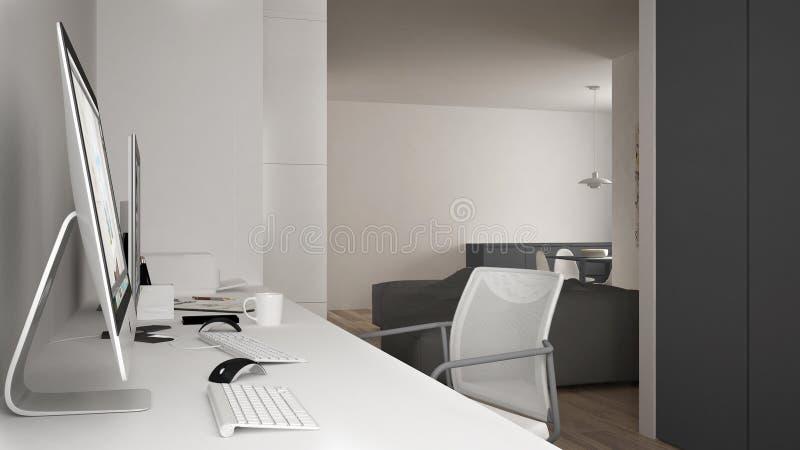 Modern arbetsplats i minimalist hus, skrivbord med datorer, nyckelord och mus, hemtrevlig vit och grå färgarkitekturinre stock illustrationer