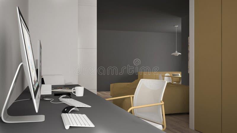 Modern arbetsplats i minimalist hus, skrivbord med datorer, nyckelord och mus, hemtrevlig vit och gulingarkitekturinre vektor illustrationer