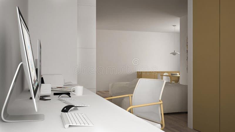 Modern arbetsplats i minimalist hus, skrivbord med datorer, nyckelord och mus, hemtrevlig vit och gulingarkitekturinre royaltyfri illustrationer