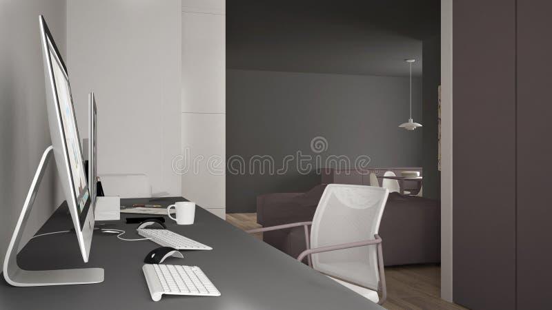 Modern arbetsplats i minimalist hus, skrivbord med datorer, nyckelord och mus, hemtrevlig vit och röd arkitekturinre stock illustrationer