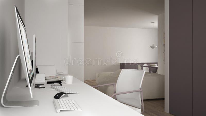 Modern arbetsplats i minimalist hus, skrivbord med datorer, nyckelord och mus, hemtrevlig vit och röd arkitekturinre royaltyfri illustrationer