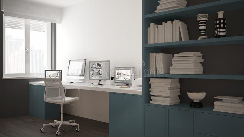 Modern arbetsplats i minimalist hus, skrivbord med datorer, stor bokhylla, hemtrevlig vit och blåttarkitekturinre stock illustrationer