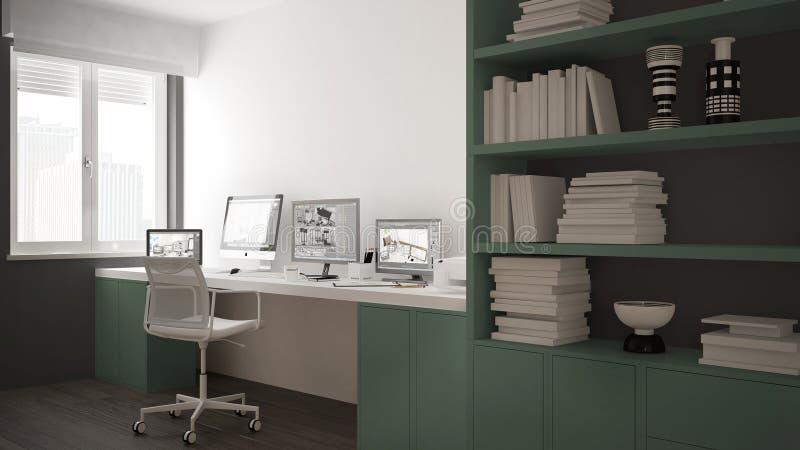 Modern arbetsplats i minimalist hus, skrivbord med datorer, stor bokhylla, hemtrevlig vit och gräsplanarkitekturinre vektor illustrationer