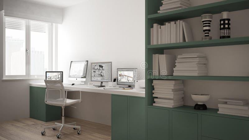 Modern arbetsplats i minimalist hus, skrivbord med datorer, stor bokhylla, hemtrevlig vit och gräsplanarkitekturinre royaltyfri illustrationer