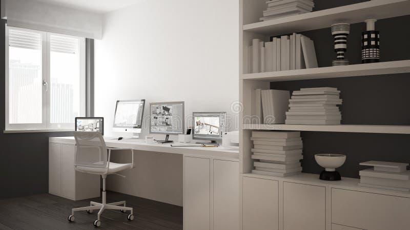 Modern arbetsplats i minimalist hus, skrivbord med datorer, stor bokhylla, hemtrevlig vit och grå färgarkitekturinre vektor illustrationer