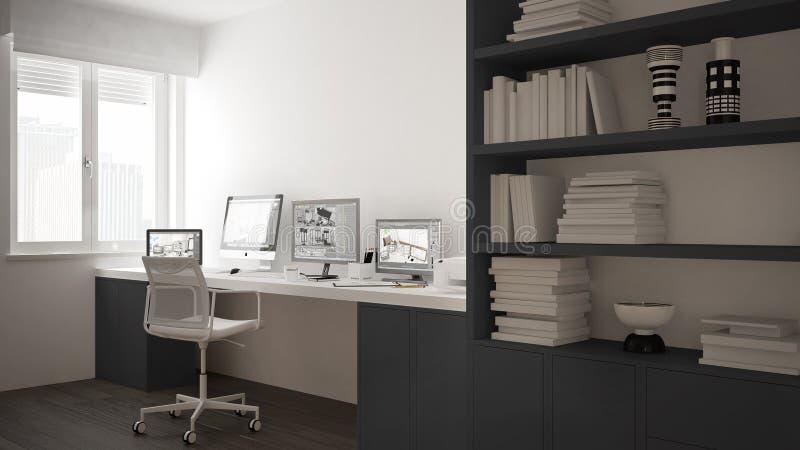 Modern arbetsplats i minimalist hus, skrivbord med datorer, stor bokhylla, hemtrevlig vit och grå färgarkitekturinre royaltyfri illustrationer