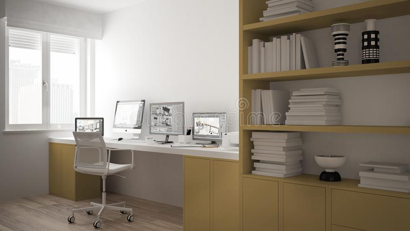 Modern arbetsplats i minimalist hus, skrivbord med datorer, stor bokhylla, hemtrevlig vit och gulingarkitekturinre vektor illustrationer