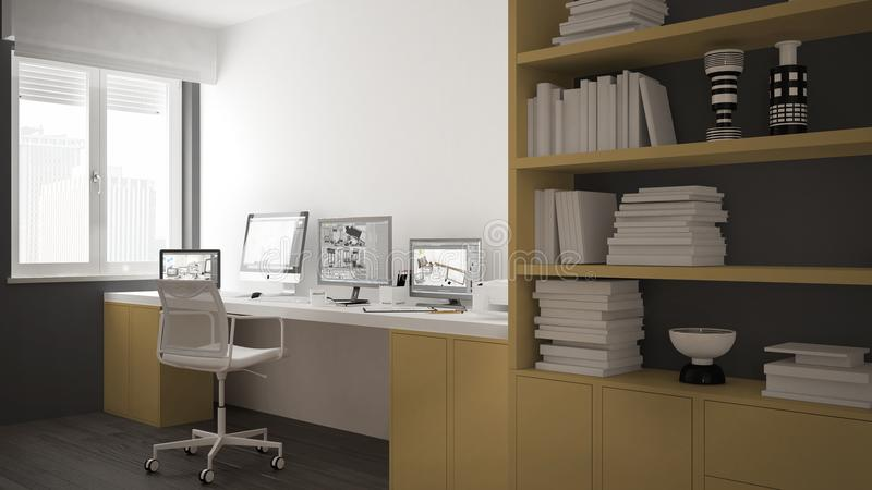 Modern arbetsplats i minimalist hus, skrivbord med datorer, stor bokhylla, hemtrevlig vit och gulingarkitekturinre stock illustrationer