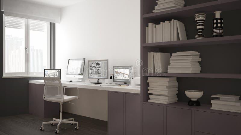 Modern arbetsplats i minimalist hus, skrivbord med datorer, stor bokhylla, hemtrevlig vit och röd arkitekturinre vektor illustrationer