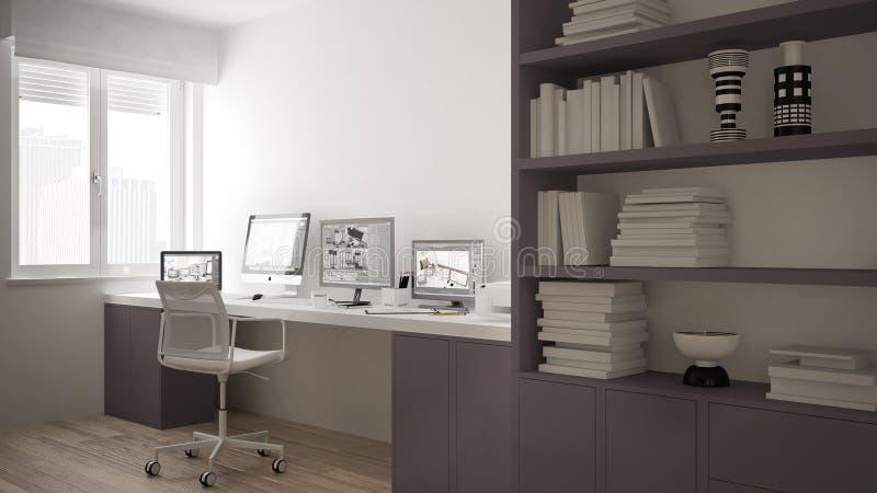 Modern arbetsplats i minimalist hus, skrivbord med datorer, stor bokhylla, hemtrevlig vit och röd arkitekturinre stock illustrationer