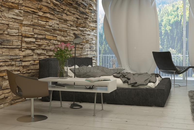 Modern Architectural Bedroom with Glass Wall royalty free illustration