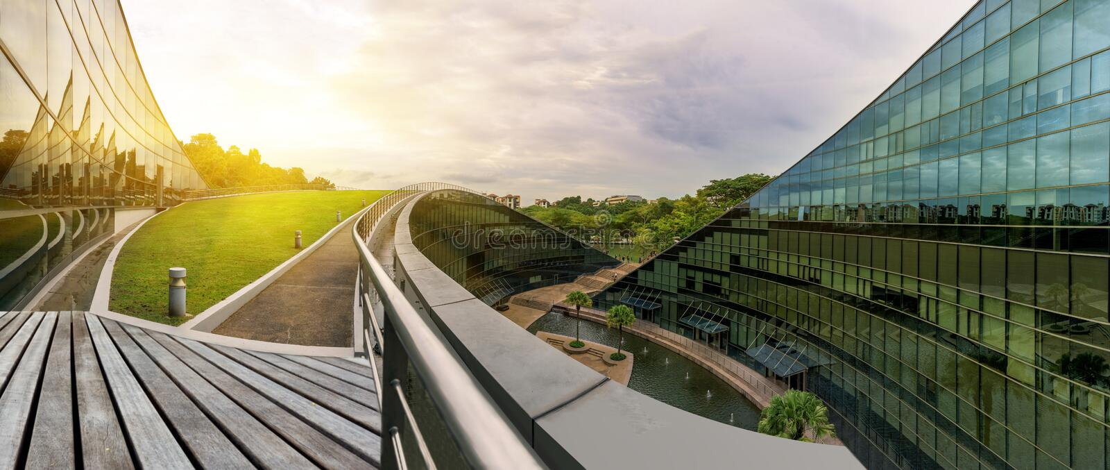 Modern architectural building of Nanyang Technological University, Singapore stock image