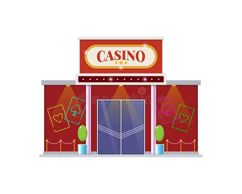 Modern architectural casino building, a gambling house for games. The building for night and day games, relaxation, growth of financial well-being, appearance stock illustration