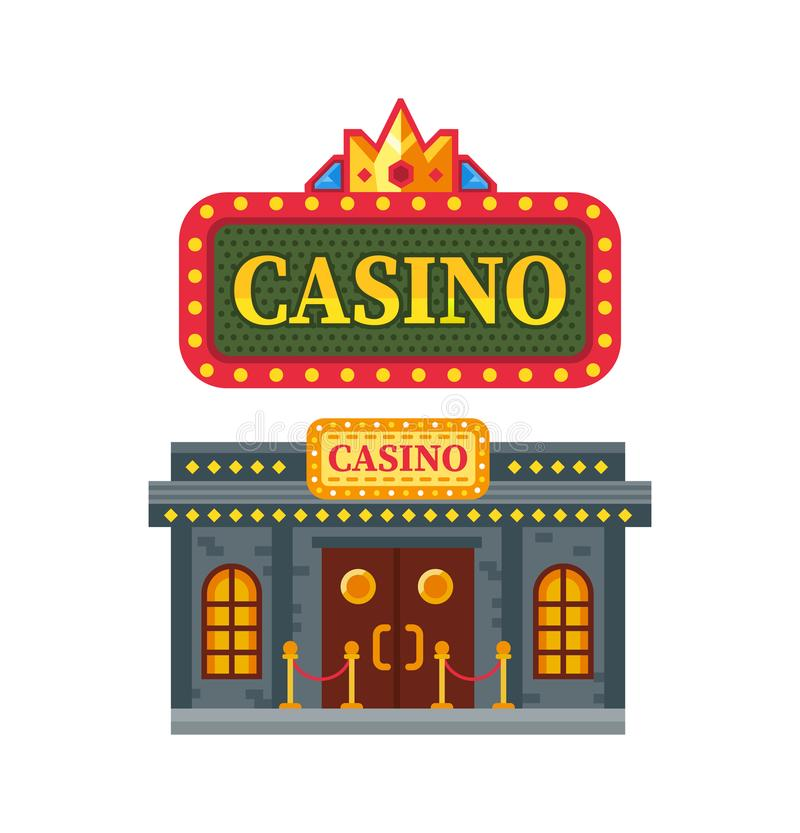 Modern architectural casino building, gambling house for games, Las Vegas. Modern architectural casino building, gambling house for games. Building for night royalty free illustration