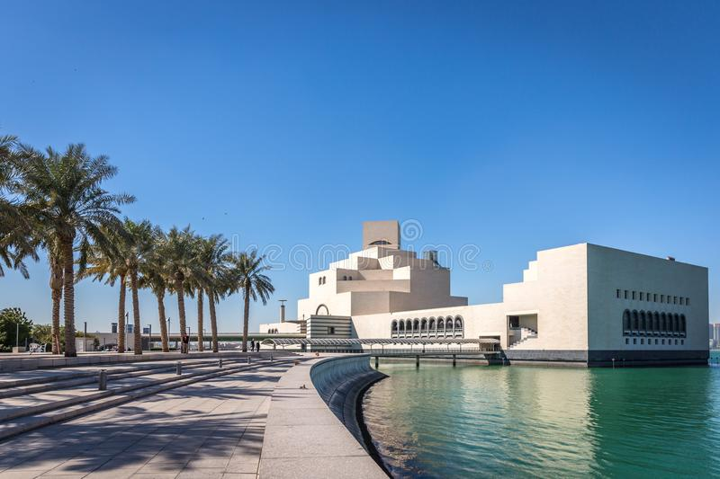 Doha, Qatar - Jan 9th 2018 - The modern architectural Museum of Islamic Art MIA in a blue sky day, winter time in Doha, Qatar. royalty free stock photos