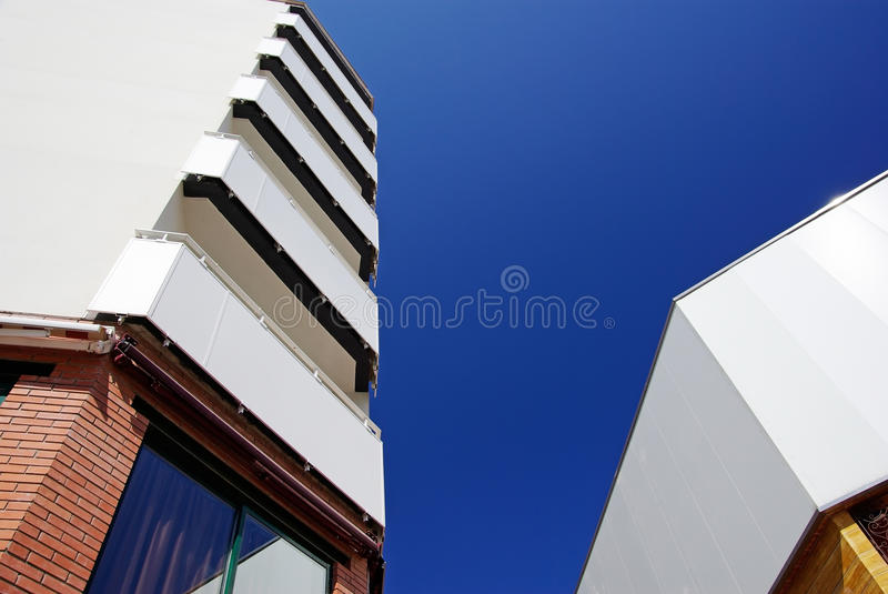 Modern architecture abstraction. Modern architecture of apartments buildings in Europe royalty free stock image
