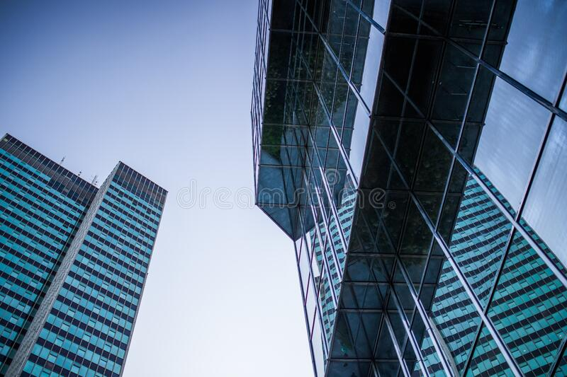 Modern architecture against blue skies royalty free stock photos