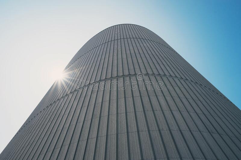 Modern architecture against blue skies stock images