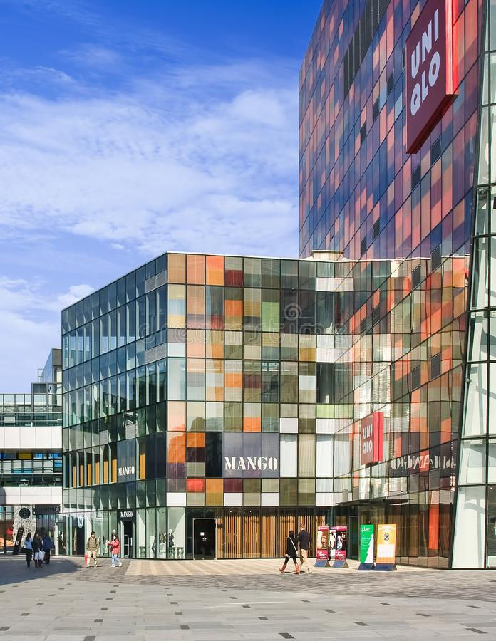 Modern architecture against a blue sky in Beijing Sanlitun The Village stock photo