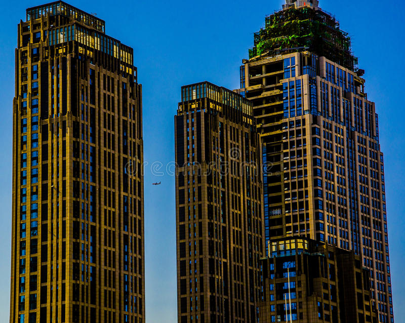 MODERN ARCHITECTURE AND AIRCRAFT IN TIANJIN stock photos