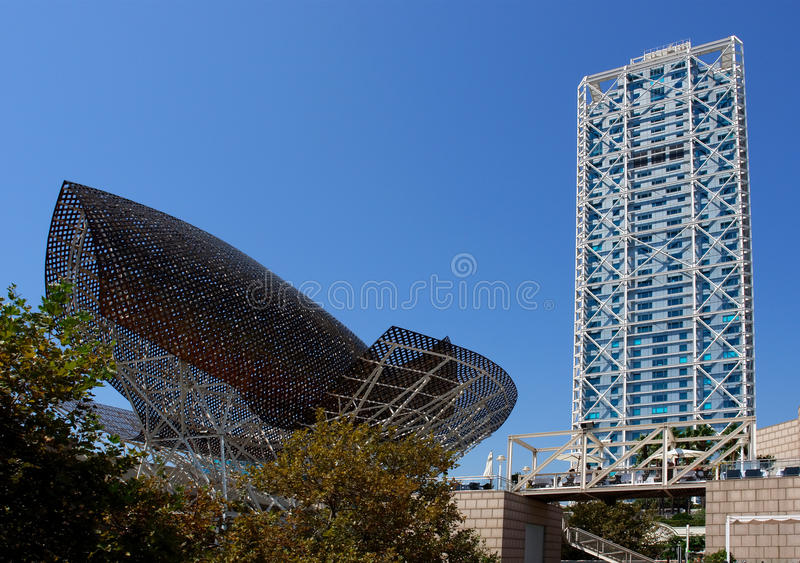 Modern architecture at Barcelona Olympic Port. stock photos