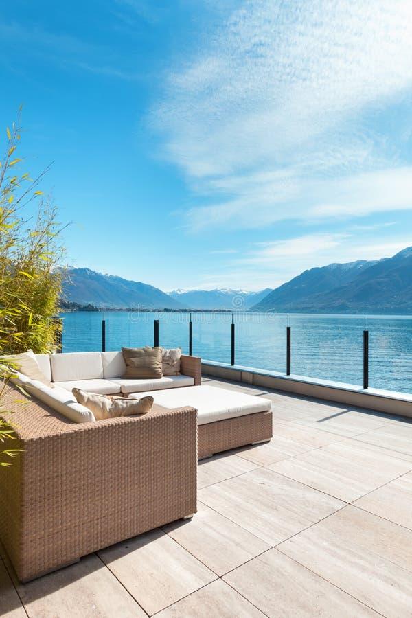 Modern architecture, beautiful terrace stock photography