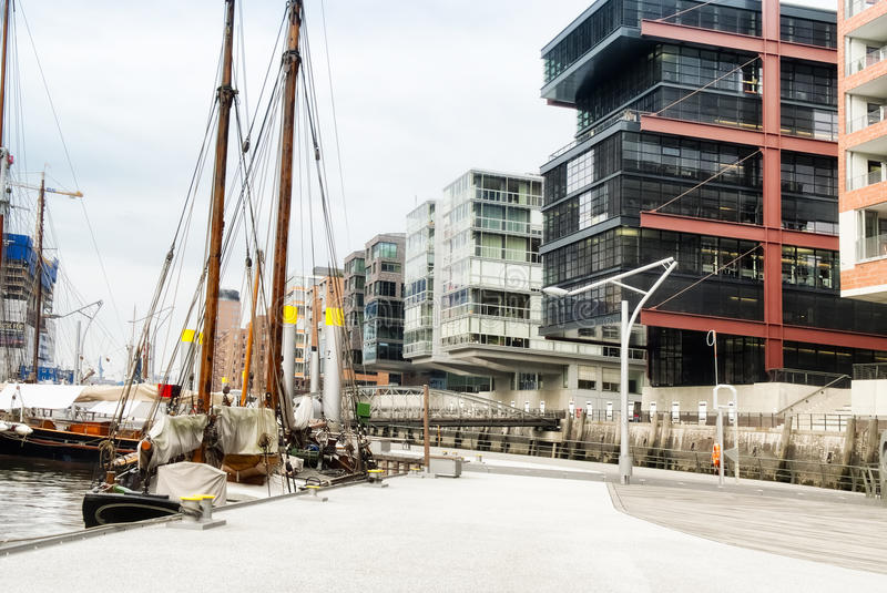 Modern Architecture Buildings In the Waterfront, Hamburg royalty free stock image