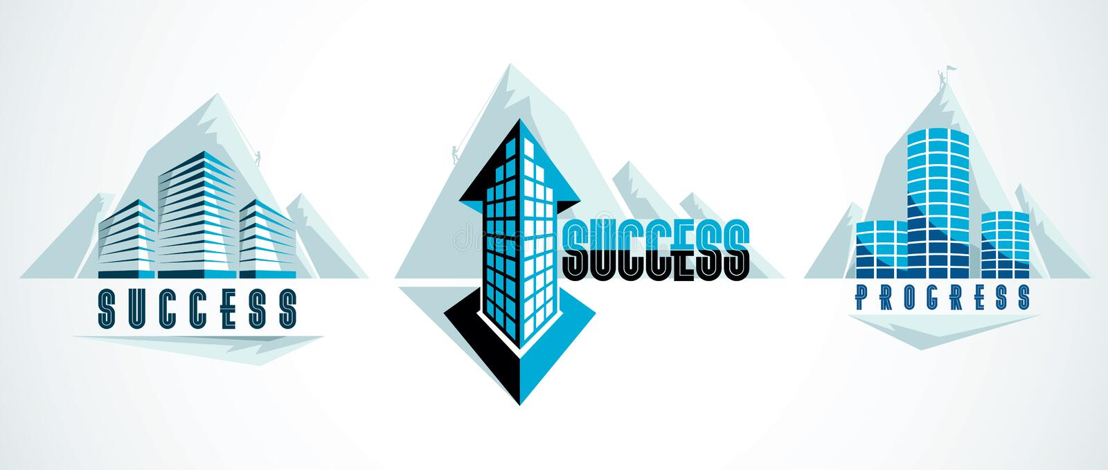 Modern architecture business office building in front of Rock Climber as a concept of career path. Reaching goal of success stock illustration