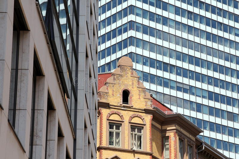 Modern architecture contrasted with vintage building. In Hamburg, Germany royalty free stock photo