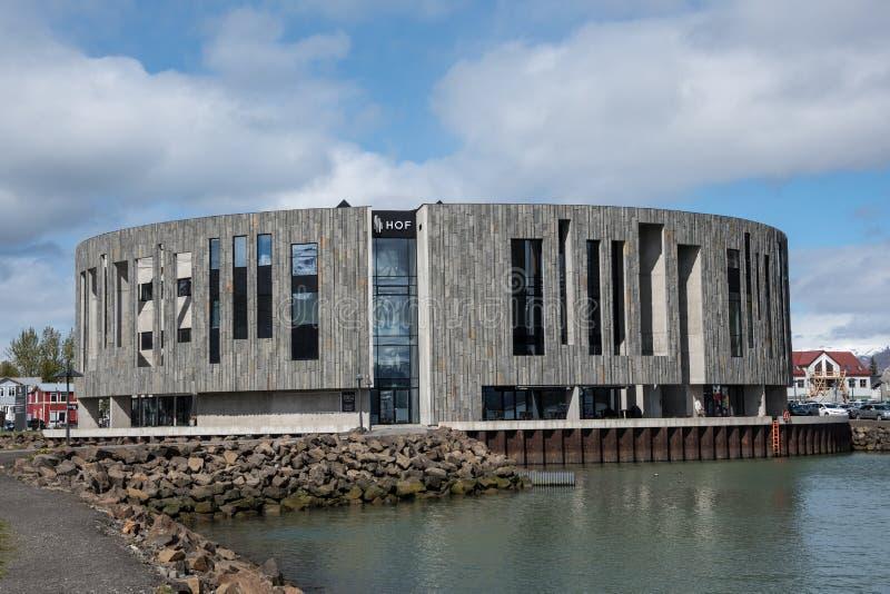 Modern architecture Culture house Hof. Akureyri, Iceland - May 28. 2018: Modern architecture Culture house Hof royalty free stock image