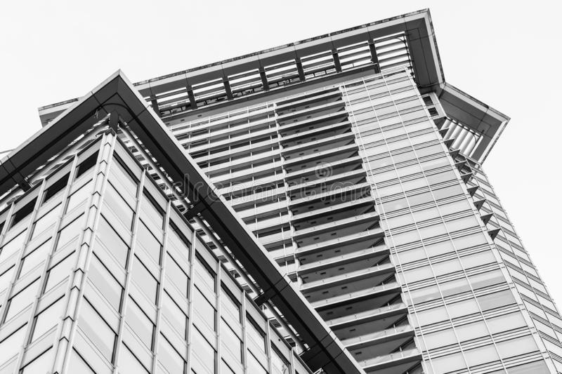Modern architecture design commercial high rise. Looking up at modern architecture design of a high rise commercial building in Vancouver royalty free stock photos