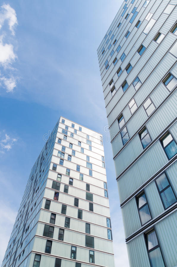 Modern architecture. Facades of modern office buildings in Almere, netherlands. It is the youngest and fastest growing city in the country, founded around 1975 stock images