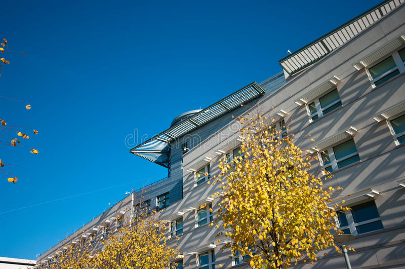 Modern architecture in fall stock photography
