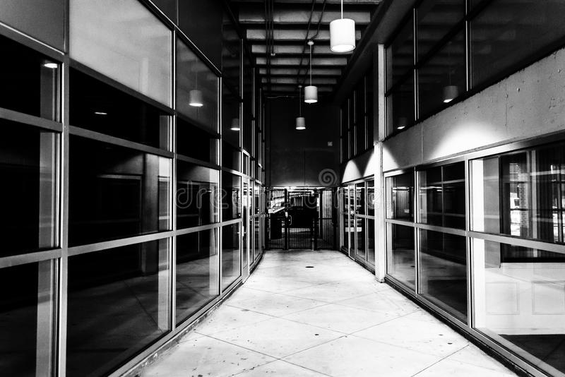 Modern architecture in a hallway in downtown York, Pennsylvania. royalty free stock photos